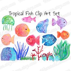 Watercolor Clipart Tropical Fish Handpainted Watercolour Clip Art by WaratahLane Australian Artist Designer Jennifer Lownds Bright and colourful images for a beach wedding or under the sea party theme. Lovely for invitations and scrapbooking and other papercrafts. Fish, jellyfish and corals in the set of PNG files