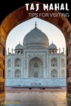 Practical tips for visiting the Taj Mahal, which is without a doubt one of the world's most famous UNESCO sites and India's most visited attraction. Located in Agra, visiting the Taj Mahal is all about timing. Here's when you should plan to arrive, especially if you're looking to beat the crowds and have an eye for photography. Travel in Asia. | Everything Everywhere Destination Guide #TajMahal #India