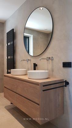 Bathroom Inspiration, Bathroom Design Luxury, Bathroom Furniture, Bathroom Furniture Wood, Bathrooms Remodel, Oak Bathroom Furniture, Bathroom Interior Design, New Bathroom Ideas, Downstairs Bathroom