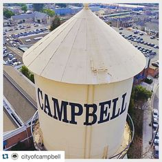 Downtown Campbell: This was yesterday from a construction crane when the City was fitting ye olde water tower with party lights in time for the Super Bowl festivities next week! How da view up there Boss?  #Repost @cityofcampbell  Ever wonder what the landmark Water Tower looks like up close? Today we are lighting it up in Super Bowl gold in advance of #SB50! Stay tuned for a gorgeous night sky in our great little #Supercommunity #football #Super Bowl #superbowl50 #downtowncampbell…