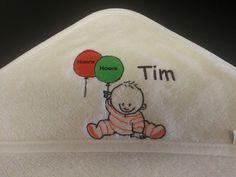Geboortekaartje op badcape