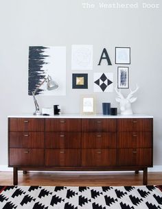 before after mid century modern credenza repainted, home decor, painted furniture, Mid Century Modern Credenza Refresh