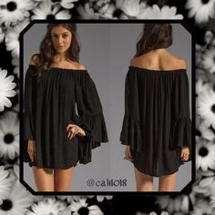 """Black Tunic Bathing Suit Cover Up Very Sheer New Boho Chiffon Sheer Off Shoulder Tunic/Dress/Cover up  Color: Black, Pink, Ivory  Material: Chiffon Style: Perfect Bathing Suit Coverup Very sheer Size: XL (runs 1-2 sizes small so fits US size Large best) Measurements: Bust: 45""""; Sleeve: 22""""; Shoulder: 35.4""""; Length: 28.4"""" All measurements are approx. to ensure best fit please size up for the look of the item Glam Squad 2 You Swim Coverups"""