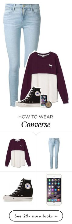 """""""offline soon"""" by your-best-friend on Polyvore featuring Frame Denim, Victoria's Secret, Converse and Topshop"""