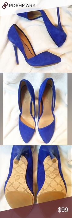 """LAMB 🔹Cobalt Suede Heels🔹 Open side suede heels. This color is amazing! Only worn once. Heel approx 4"""" L.A.M.B. Shoes Heels"""