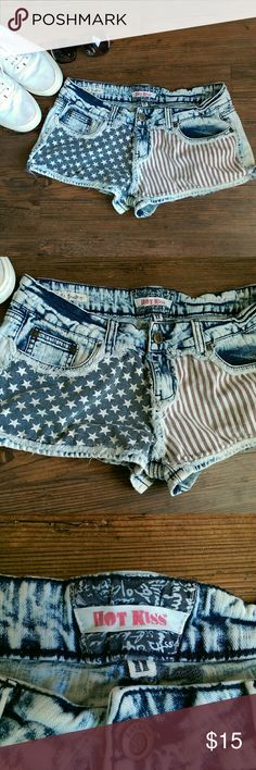 Distressed American Flag Short Shorts Pretty Bleached American Flag short shorts.  Size: 11 98% cotton, 2% spandex Hot Kiss Shorts Jean Shorts