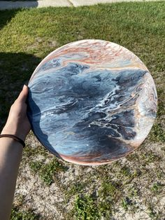 """Acrylic Pour Painting 12"""" Wooden Round ArtsyEmsDesigns"""