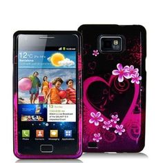 Electromaster(TM) Brand - Purple Love Design Crystal Hard Skin Case Cover for Samsung Galaxy / Attain Galaxy S2, Samsung Galaxy, Purple Love, Skin Case, Love Design, Cell Phone Accessories, Abs, Crystals, Cover