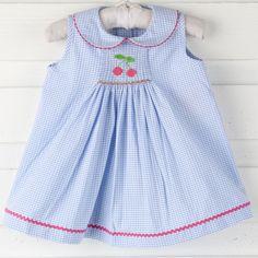 Single Smocked Cherry Dress Blue Gingham