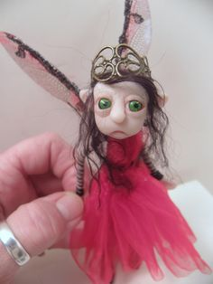 ooak poseable little RED PIXIE FAIRY  04  art by DinkyDarlings, $89.00