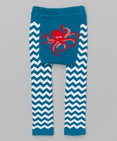 I'm buying these now for my baby Carter! So cute!! Look at this #zulilyfind! Blue Chevron Octopus Leggings - Infant #zulilyfinds