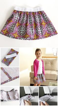 Easy to sew skirt - a great sewing project for beginners. You can make this in child or adult size.