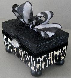 Flocked Leopard Decorative Box by funkyart08 on Etsy, $32.00