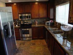 Slate flooring in kitchen