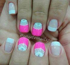 Nail Designs, Nails, Beauty, Finger Nails, Enamels, Flower, Short Nails Acrylic, Cute Nails, Hair Beauty