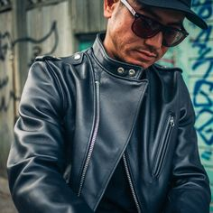 """Leather Jacket season is coming 🖤 We'll be featuring some of our favorite leather's at the shop in the next few weeks, and thought we'd kick it off with the Schott NYC 603USA Cafecto Leather jacket - a different take on an a classic. The """"Cafecto"""" rocks the best parts of a asymetrical zip biker jacket with cafe collar. Motorcycle Riding Gear, Motorcycle Jacket, Biker, Cafe Racer Jacket, Cafe Racer Style, Real Leather, Leather Men, Nyc Fashion, Mens Fashion"""