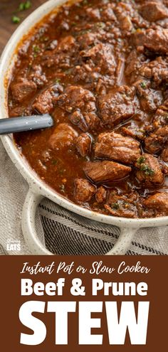 Beef and Prune Stew - tender delicious fall apart chunks of stewing beef in a rich flavoursome gravy naturally sweetened with dried prunes. Slow Cooker Beef, Pressure Cooker Recipes, Slimming World Beef Recipes, Slimming Eats, Dried Prunes, Whole 30 Recipes, Free Recipes, Stew, Gravy