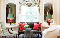 Living room.... pop of red and green