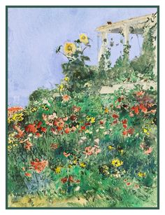 Summer Garden and Porch Isle of Shoals by American Impressionist Painter Childe Hassam Counted Cross Stitch or Counted Needlepoint Pattern