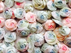 LOT Vintage Handmade Ombre Satin Ribbon Roses Trim Passementerie Dolls, Dime size. Sold for $356.00. Bidders 11
