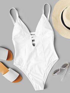 Shop Plunge Caged Back One Piece Swimsuit online. SHEIN offers Plunge Caged Back One Piece Swimsuit & more to fit your fashionable needs. Bathing Suits One Piece, Cute Bathing Suits, One Piece Swimsuit White, Bikini Outfits, Cute Swimsuits, Beachwear For Women, Swimwear Fashion, Cute Outfits, Clothes