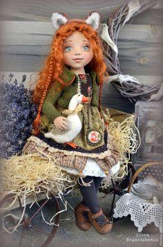 Купить Лизавета, текстильная кукла - болотный, зеленый, коричневый, рыжий, лиса, лисичка, девочка, гусь