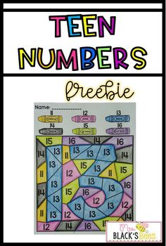 Students color teen numbers using a color code. This is a good individual activity. Kindergarten Colors, Kindergarten Freebies, Numbers Kindergarten, Kindergarten Math Activities, Math Numbers, Preschool Math, Teaching Math, Teaching Resources, Decomposing Numbers