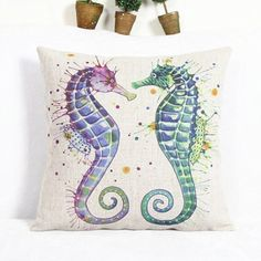 Simple Sea Horse Pattern Square Linen Pillowcase(Without Pillow Inner)