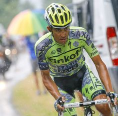 #TdF Gallery: Alberto #Contador confronts his opponents on a soaking Plateau de Beille - #TinkoffSaxo