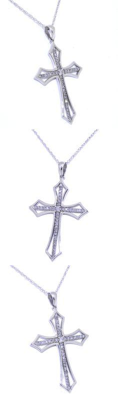 #whitegold #DIAMOND #CROSS #NECKLACE #BEAUTIFUL GET IT HERE=> http://shop.shinjewelers.com/14k-white-gold-diamond-cross-pendant-with-18-chain-31000506/