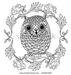 Little zentangle owl in a ranunculus wreath, vector design for adult colouring book, blake and white doodle