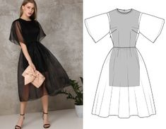 Ready-made pattern of cocktail midi dress - Schnittmuster - Tulle Dress, I Dress, Dress Outfits, Fashion Dresses, Fashion Week, Look Fashion, Fashion Design, Fashion Fall, Short Dresses