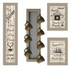 Kitchen Collection VII 4-Piece Vignette with 7-Peg Mug Rack Decorative Sign, Brown