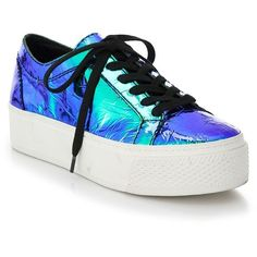 Loeffler Randall Miko Iridescent Leather Platform Sneakers ($370) ❤ liked on Polyvore featuring shoes, sneakers, chaussures, apparel & accessories, blue, blue leather shoes, lacing sneakers, chunky shoes, leather lace up sneakers and leather platform shoes