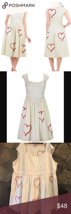 ❤️ESHAKTI❤️6X HEART DRESS❤️ 6X dress lovely fit and flare dress.  Statement red hearts embellish our retro-styled cotton frock styled with a wide banded waist and contrast double stitching all over to add to the look.Slips on over head; partial side zip closure.Rounded square neck, raglan cap sleeves.Inner bra strap keeps.Bust darts to shape. Gathered waist, full skirt. Side seam pockets. Below knee length.Lined in cotton voile. Cotton, woven poplin, pre-shrunk and bio-polished, no stretch…