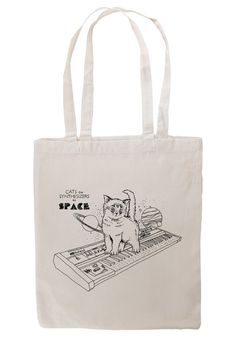 Cats On Synthesizers In Space Canvas Tote Bag by KieranHeather