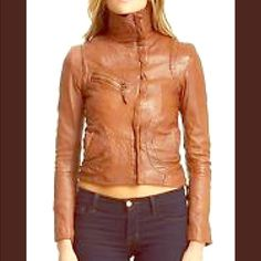 DOMA Dulche De Leche Brown Jacket Cute Cropped Tan beautiful jacket. Has some discoloration on collar but not really noticeable . I would keep but it's really tight on me. Real leather, smells awesome!! Retail is $700. Size is M, but fits like a small or XS Free People Jackets & Coats