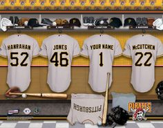 Pittsburgh Pirates MLB Baseball - Personalized Locker Room Print / Picture. Have you or someone you know ever dreamed about playing next to your favorite Pittsburgh Pirates players. You or someone you know can be right there in the locker room with Pittsburgh Pirates players! Optional framing with mat is available. Perfect for gifts, rec room, man cave, office, child's room, etc.  (http://www.oakhousesportsprints.com/pittsburgh-pirates-locker-room-print/)