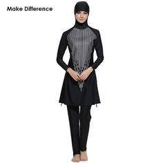 7320242b47 Make Difference Islamic Swimwear Women Modest Full Cover Muslim Islamic  Hijab Swimsuit Swimwear Burkinis for Muslim
