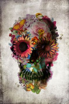 """Floral Skull"" Graphic/Illustration by Ali GULEC posters, art prints, canvas prints, greeting cards or gallery prints. Find more Graphic/Illustration art prints and posters in the ARTFLAKES shop. Los Muertos Tattoo, Capas Samsung, Aquarell Tattoo, Totenkopf Tattoos, Sugar Skull Tattoos, Sugar Skulls, Skull Candy Tattoo, Candy Skulls, Floral Skull"
