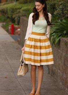 mustard yellow striped skirt- love the shape and look just a different color