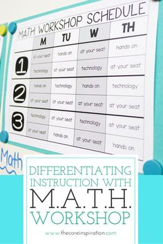 M.A.T.H.  Workshop is a framework that allows students to learn new math content each day, practice math strategies in a variety of ways, and reflect on learning through verbal or written sharing. This teacher shows you each step of  the predictable struc