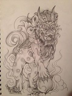Foo dog tattoo design by relentless-giff