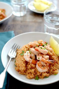 Shrimp #Scampi on Couscous - a light yet #satisfying meal. Though you can enjoy this meal year-round, it certainly makes a great #Thanksgiving meal.