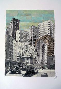Denis Kollasch: Stadt 86. #Papiercollage, geschnitten, geklebt #Moderne #metropolis #Metropolis #Beton #Häuserschlucht #collage #deniskollasch #startyourart