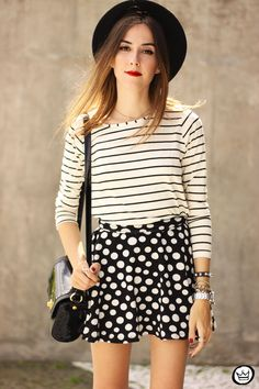FashionCoolture - 19.03.2015 look du jour Sly Wear striped top dots skirt (2)