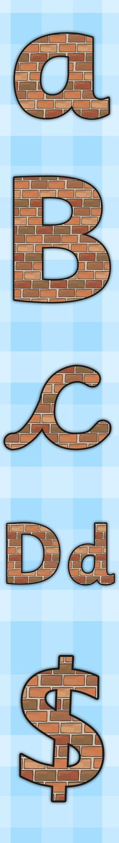 Twinkl Resources >> Brick Themed A4 Display Lettering >> Printable resources for Primary, EYFS, KS1 and SEN.  Thousands of classroom displays and teaching aids! Topics, Houses and Homes, Display, Classroom, Lettering, Bricks