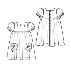 View details for the pattern Girls' Dress on BurdaStyle. Baby Clothes Patterns, Clothing Patterns, Sewing Clothes, Doll Clothes, Kids Frocks, Dress Sketches, Fashion Design Sketches, Pattern Fashion, Baby Dress