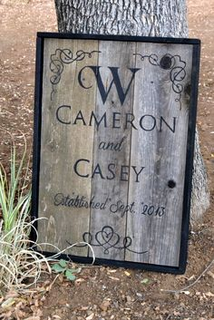 Monogram Wedding sign with date established. Made from old fence boards
