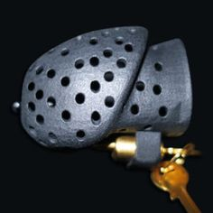 Chastity device or penis cage for men with a Prince-Albert-piercing Chastity Cage, Chastity Device, Prince Albert Piercing, Black Nylons, Crocs, Beige, Silver, Learn English, Stuff To Buy